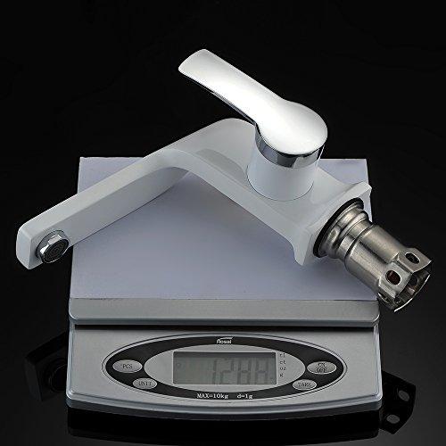 Homelody – Einhebel-Waschbeckenarmatur, ohne Ablaufgarnitur, Curved-Design, Weiß-Chrom - 6