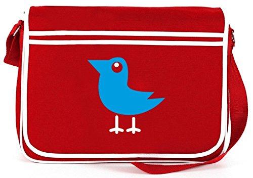 Shirtstreet24, BIRD, Vogel Natur Tier Retro Messenger Bag Kuriertasche Umhängetasche Rot