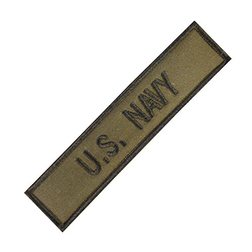 US Navy USN Name Tape Olive Drab OD Green Stickerei Military Hook&Loop Aufnäher Patch (Bdu Camo Uniform Woodland)