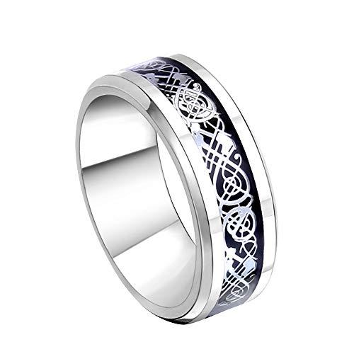 LNYACHI Edelstahl Ringe Männer und Frauen Handmade Drachen Muster 8 Millimeter Breite Hochzeit Band Ring,Größe 57(18.1