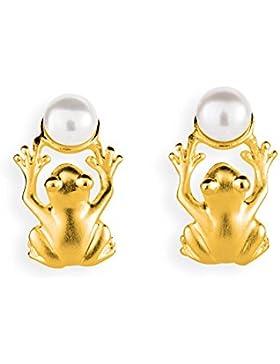Drachenfels Design Damen-Ohrstecker Froschkönig Silber goldplattiert mattiert Perle Süßwasser-Zuchtperle weiß...