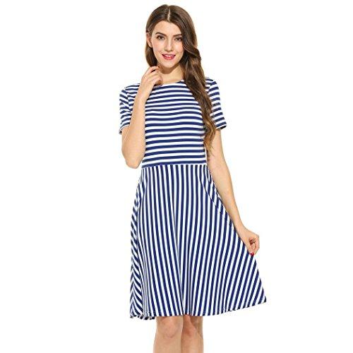 Pagacat Damen Gestreift Kleid Kurzarm Knielang Ausgestelltes Kleid Partykleid