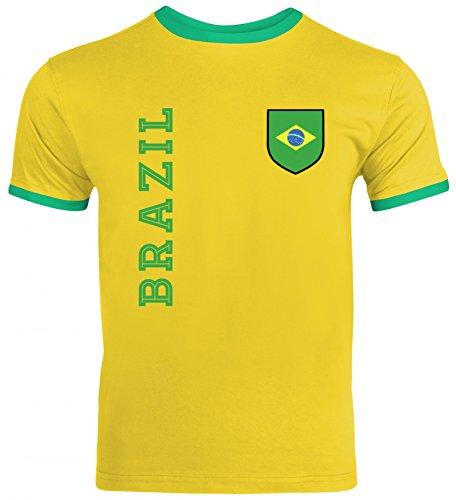 Brasil Brasilien Fußball WM Fanshirt Gruppen Herren Männer Ringer Trikot T-Shirt Fan Trikot Brazil, Größe: XXL,Sunflower/Kelly Green -