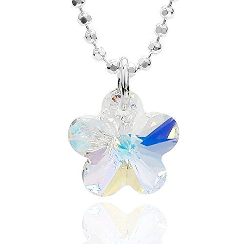 Butterfly bambine ragazze collana argento sterling 925 swarovski elements originali ciondolo fiore crystal lunghezza regolabile sacchetto stoffa regali per gioielli bambini