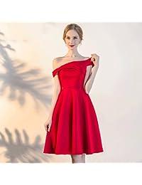 Vestido de noche Mini Vestido Sección Corta Verano Rojo Novia/Vestido De Dama De Honor Hombro Vestido Banquete Faldas Cortas…