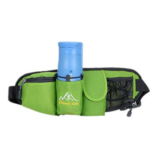 Sport Hüfttasche,Außen Camping Hüfttasche Sport wasserdicht Hüfttasche mit Kettle Tasche Laufen Gürteltasche Pouch Gürteltasche für Wandern Laufen Radfahren Camping Reise Klettern Grün