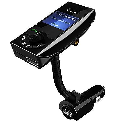 [Verbesserte Version] FM Transmitter, CHGeek Bluetooth FM Transmitter KFZ Auto Radio Adapter Freisprecheinrichtung Car Kit mit 2 USB Auto Ladegerät, 3.5mm AUX-Eingang, 1.44-Zoll-Display, TF Karte Slot für iPhone Samsung HTC MP3 und mehr -