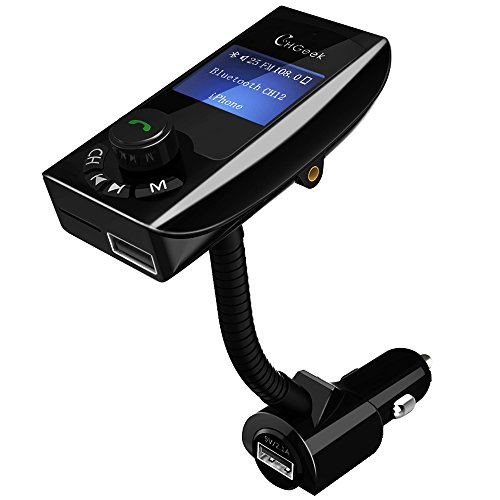 [Verbesserte Version] FM Transmitter, CHGeek Bluetooth FM Transmitter KFZ Auto Radio Adapter Freisprecheinrichtung Car Kit mit 2 USB Auto Ladegerät, 3.5mm AUX-Eingang, 1.44-Zoll-Display, TF Karte Slot für iPhone Samsung HTC MP3 und mehr - CH12 Mp3-musik-handy