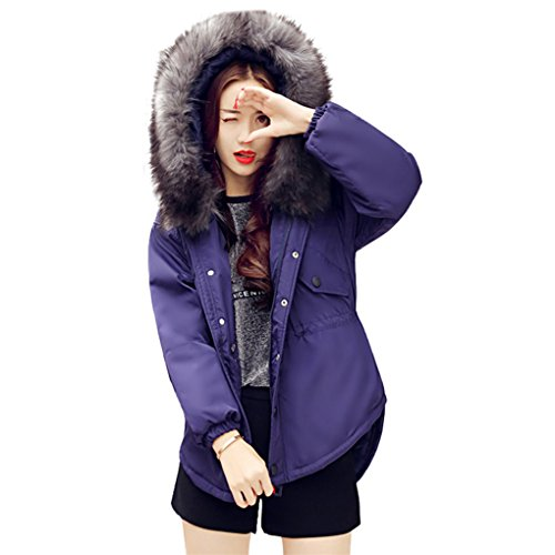 Frauenkleidung❀❀ JYJMFrauen-beiläufige dickere Winter-Haar-Kragen Lammy Jacken-Mantel-Mantel Outwear (M, Blau) (Double Wolle Breasted Kragen)