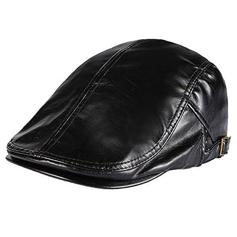 Panegy Bérets Casquettes Loisirs Hommes Femmes Cuir PU Classique Rétro Simple Réglable Bonnet Vintage Chapeau Voyage - Noir