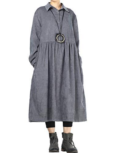 Mallimoda Femme Robe en Velours côtelé Manches Longues Chemisier Plissées Tunique Gris XL
