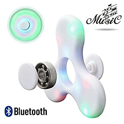 LED Music Fidget Spinner | Bluetooth Speaker | LED Light | Rechargable | Anti Stress | Colour: White