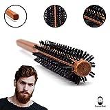 Sunnah Bart - Männer Bartbürste und Föhnbürste mit harten Borsten | Bürste für Bart und kurze Haare | Haarbürste echt Holz ideal zum Fönen von Bart und Haar | ohne Tierhaare