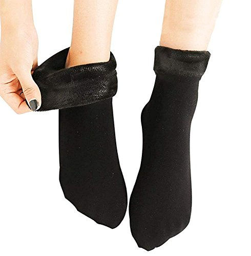 QUEERY Pack of 1 Beige Solid Winter Thick Warm Fleece Lined Thermal Stretchy Elastic Velvet Socks (Without Thumb) for Girls/Ladies / Women)