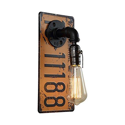 ZQFWZ Antik Industrielle Wandleuchte Fabriklampe in Gelb aus Eisen Shabby Nummernschild Wasserrohr Wandlampe mit Zipper Schalter Vintage Esszimmerlampe E27 bis 40W 220V für Bar CaféTreppe Gehweg H30cm -