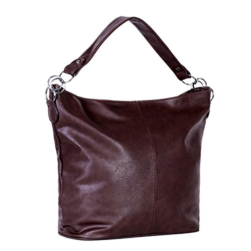 DonDon Borsa donna simil pelle Hobo Bag con chiusura a zip blu scuro 41 x 31 x 14 cm Marrone scuro