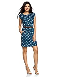 oodji Ultra Damen Ärmelloses Kleid aus Bedruckter Viskose, Blau, DE 34 / EU 36 / XS