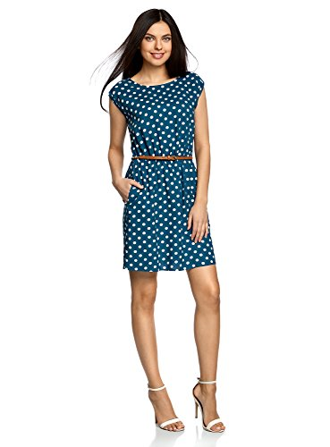 oodji Ultra Damen Ärmelloses Kleid aus Bedruckter Viskose, Blau, DE 38 / EU 40 / M