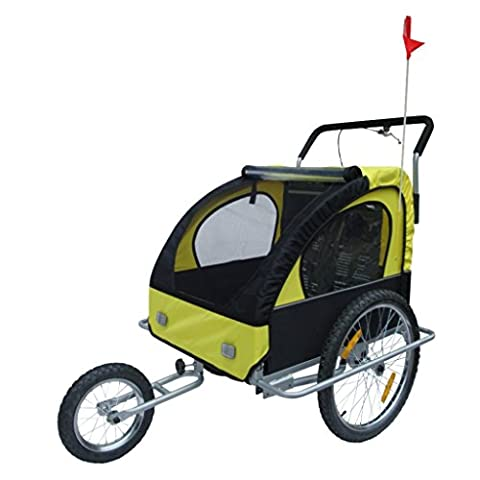 Yellow & Black Childrens Bike Trailer with Shocks