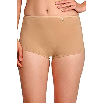 Jockey Womens Solid Seamless Boy Leg Briefs (Beige_Small)