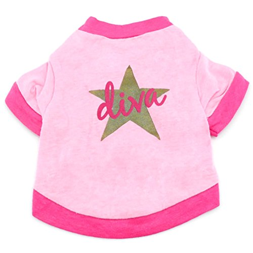 tore Kleiner Hund Kleidung für Mädchen Diva Star T-Shirt Pink (Kleine Mädchen Store)