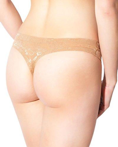 "Rosme Damen String Tanga, Kollektion ""Seamless Lace"" Beige"