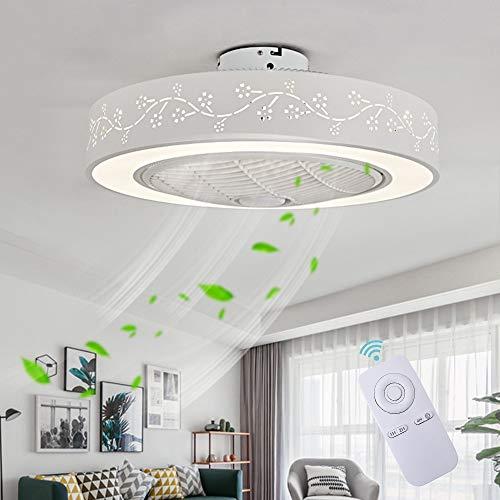 Ventilateur De Plafond Avec Lumière Ventilateur Créatif Invisible Avec Télécommande Gradable Ultra Silencieux Ventilateur LED Plafonnier Salon Moderne Chambre Enfant Ventilateur De Plafond Plafonnier