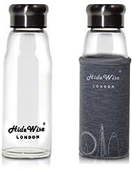 Botella de agua de cristal de calidad premium de hidewise London en funda de nailon (Diseñado en Inglaterra [Azul, Rojo, Plata, en (550ml/20oz) & (420ml/15oz)), plata