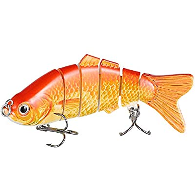 Truscend Fishing Lures Swimbait Bass,Multi Jointed Topwater Life-like Trout Swimbait Hard CrankBaits freshwater saltwater Mustad Hooks Improve Your Fishing Game by Truscend