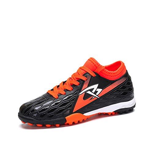 Kinder Fußballschuhe Teenager Beruf Athletics High Top Training Schuhe Jungen Outdoor Running Schuhe Schwarz-Orange,Blau Fußball Stiefel EU30-39
