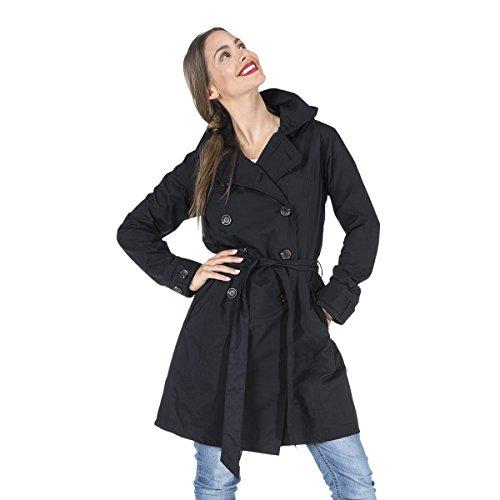 HappyRainyDays - Femme   Manteau imperméable, trench-coat avec capuche Bowie Noir, Taille L