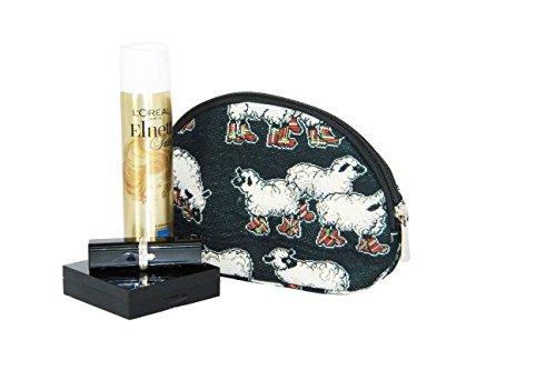 Borsa donna di Signare per il trucco in tessuto stile arazzo alla moda Animali (Coccinelle) Black Sheep