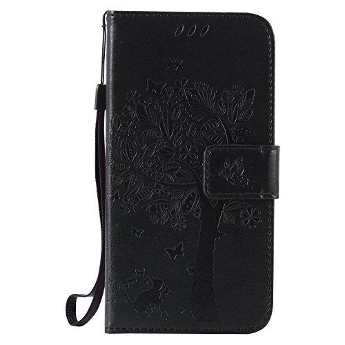 Kucosy Galaxy S5 PU Lede Brieftasche Schutzhülle Schmetterlingskatze Muster Flip Case Cover Schütz Hülle Slim Mädchen Tasche Cover Weiche Silikon Handyhalter für Samsung Galaxy S5 - Schwarz