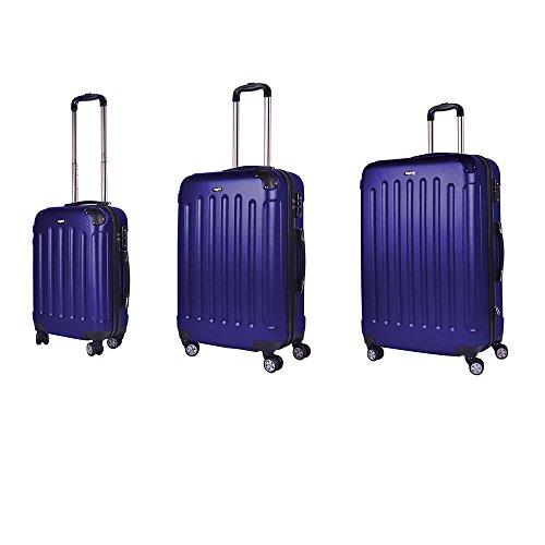 Set de Valise cabine 52cm / 62cm / 71cm - Sunydeal - ABS ultra Léger - 4 roues - Bleu foncé – Garantie de 12 mois