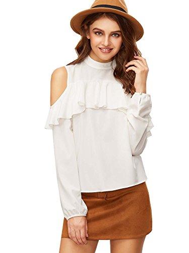 ROMWE Damen Cut Out Bluse Stehkragen mit Rüsche Langarm Elegant Shirt Oberteil Weiß L (Rüschen Shirt Stehkragen)