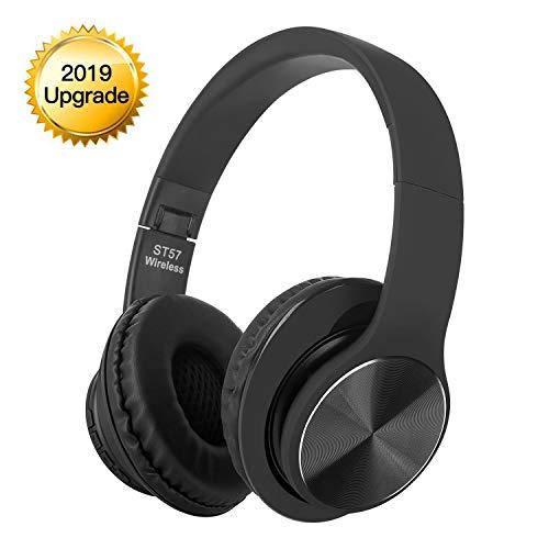 WDGP Cuffie Bluetooth, Cuffie Wireless, chiamate in Vivavoce, cancellazione del Rumore Stereo Hi-Fi, per iPhone, Samsung, Huawei, Tablet, PC, TV, ECC. (Cuffie Nere)