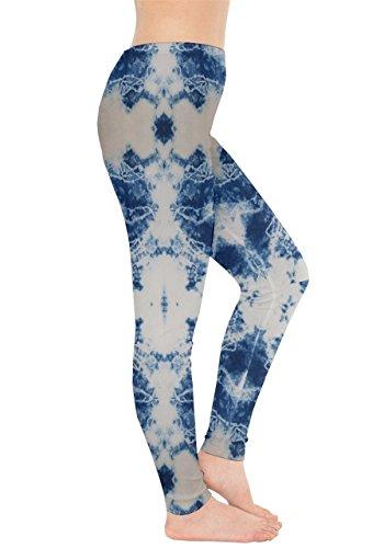 CowCow - Legging - Femme Rose et noir bleu acier