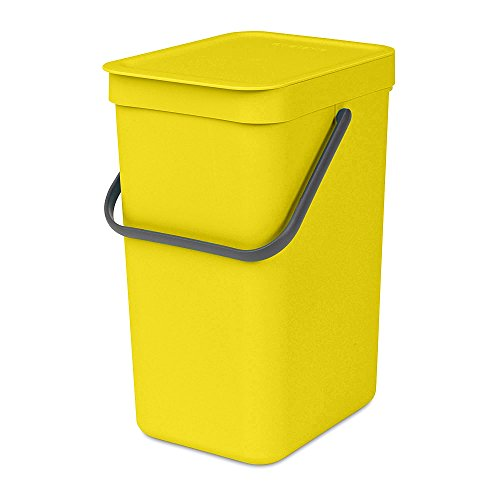 Brabantia 109768 Abfallbehälter 'Sort & Go', 12 L Abfalleimer, Plastik, gelb, 49 x 20 x 36.5 cm