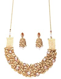 Priyaasi Brown & Antique Gold-Toned Stone-Studded Jewellery Set