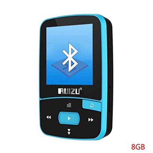 Befaith Ruizu X50 8G 16G Bluetooth MP3-Musik-Player Sport läuft MP3-Clip Walkman mit FM Radio Record E-Book Schrittzähler Blau & 8G (Record Mp3)