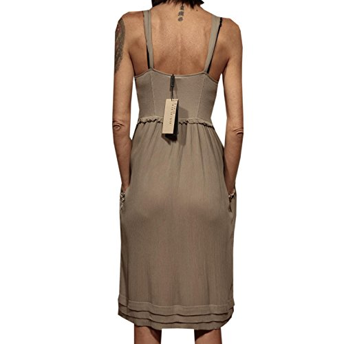 83232 vestito BURBERRY BRIT SETA abito donna dress women Tortora