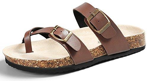 SANDALUP Pantoletten Damen Zehentrenner Sandalen Sommer Schuhe Brown 39