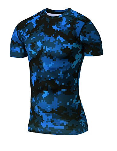 TCA Men's Pro Performance Digital Combat Short Sleeve Thermal Compression Base Layer Top - Ocean Blue Combat, Large (Bekleidung Ocean Blue)