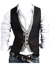 Chalecos Hombre de Vestir de Boda Slim Chaqueta Waistcoat Sin Manga Formal Blazers