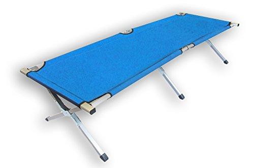 Feldbett Campingbett - Farbe - Aluminiumrahmen - mit Transporttasche (Royal-Blau)