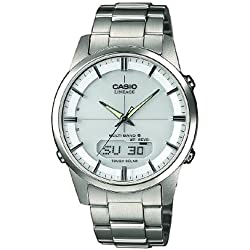 CASIO Men's Quartz Watch with Grey Dial Analogue/Digital Display and Silver Stainless Steel strap LCW-M170TD-7AER