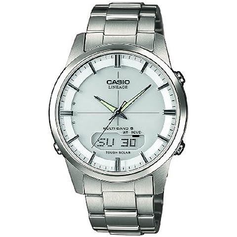 Casio  Radio Controlled - Reloj de cuarzo para hombre, con correa de titanio, color plateado