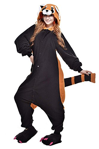 URVIP Erwachsene Unisex Jumpsuit Tier Cartoon Fasching Halloween Pyjama Kostüm Onesie Fleece-Overall Schlafanzug Waschbär Large