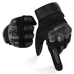 Idea Regalo - Guanti Moto Full Finger Touch Screen Guanti Sportivi da Esterno Hard Knuckle Protettivo per Moto Ciclismo Caccia Arrampicata Camping Guanti (L)