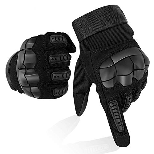 Guanti Moto Full Finger Touch Screen Guanti Sportivi da Esterno Hard Knuckle Protettivo per Moto Ciclismo Caccia Arrampicata Camping Guanti (L)